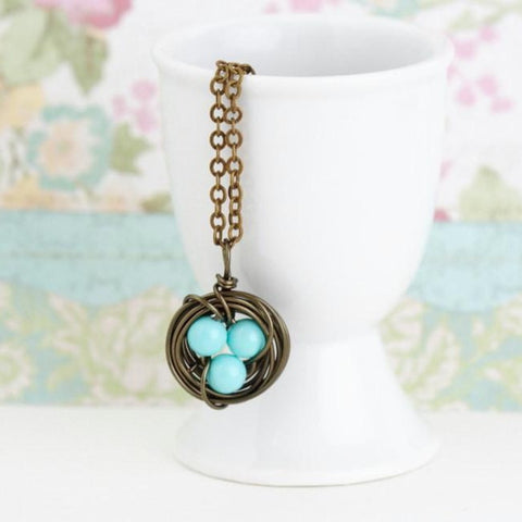 Bird Nest Necklace With Turquoise Eggs