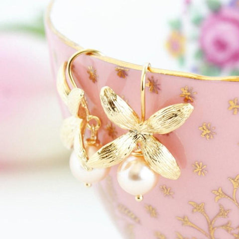 Gold Flower Earrings with Blush Pearls - Jacaranda