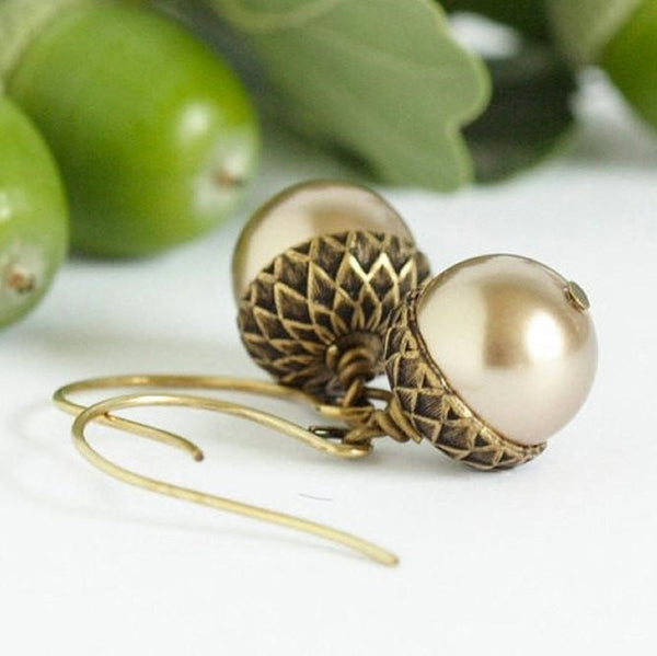 Pale Bronze and Antique Gold Acorn Earrings