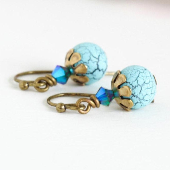Tuquoise and Crystal Birds Egg Earrings