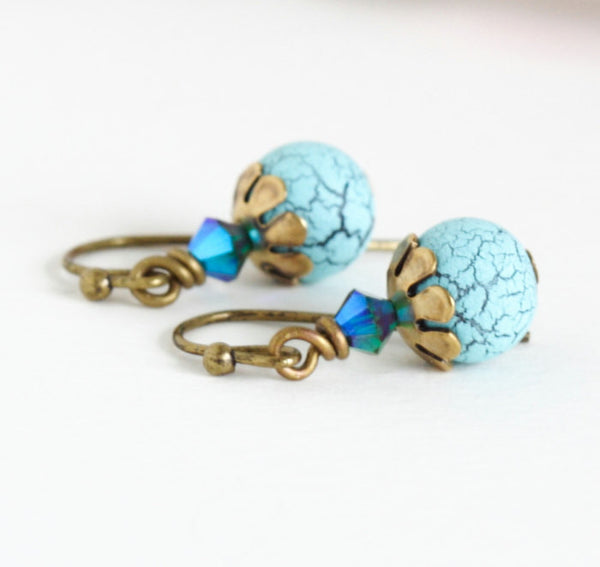 Tuquoise and Crystal Birds Egg Earrings - Jacaranda