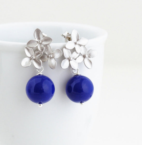 Monaco Blue Earrings - Silver Hydrangea Flower Post Earrings - Bridal Jewelry - Wedding Earrings - Gift For Woman - Jacaranda