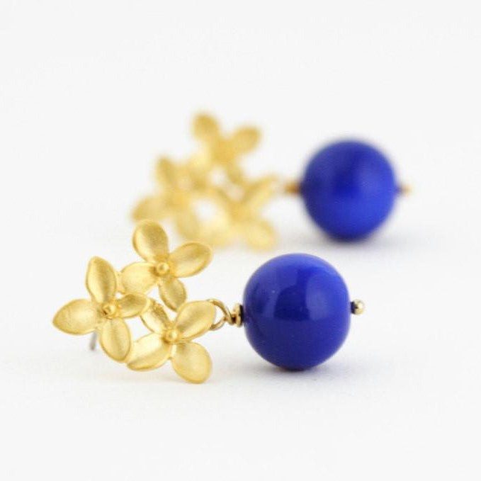 Gold Hydrangea Flower Post Earrings With Blue Beads - Jacaranda
