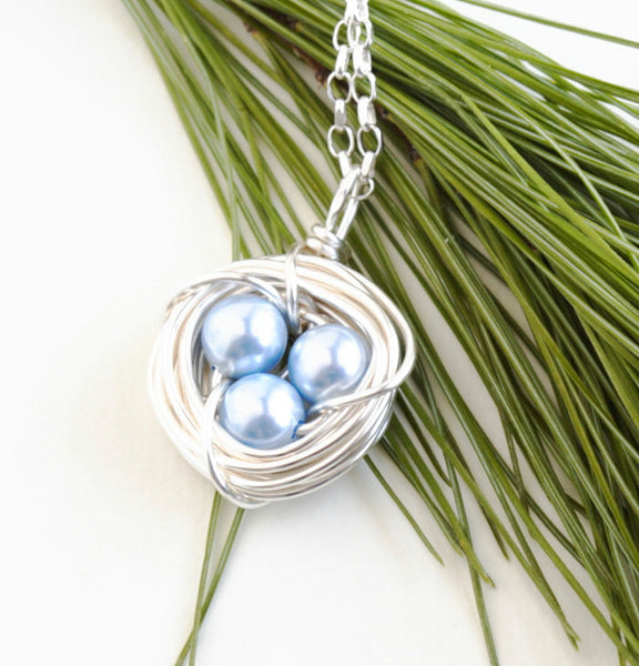 Silver Bird Nest Necklace - Jacaranda