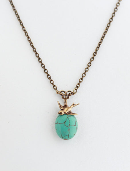 Turquoise Necklace - Turquoise and Brass - Turquoise Pendant With Brass Bird Charm - Choose Your Length - Girlfriend Gift - Gift For Woman - Jacaranda