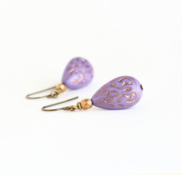 Purple Earrings - Moroccan Style - Boho Chic Earrings - Dangle Earrings - Bohemian - Bridesmaids Gifts - Purple and Gold - Gift For Woman
