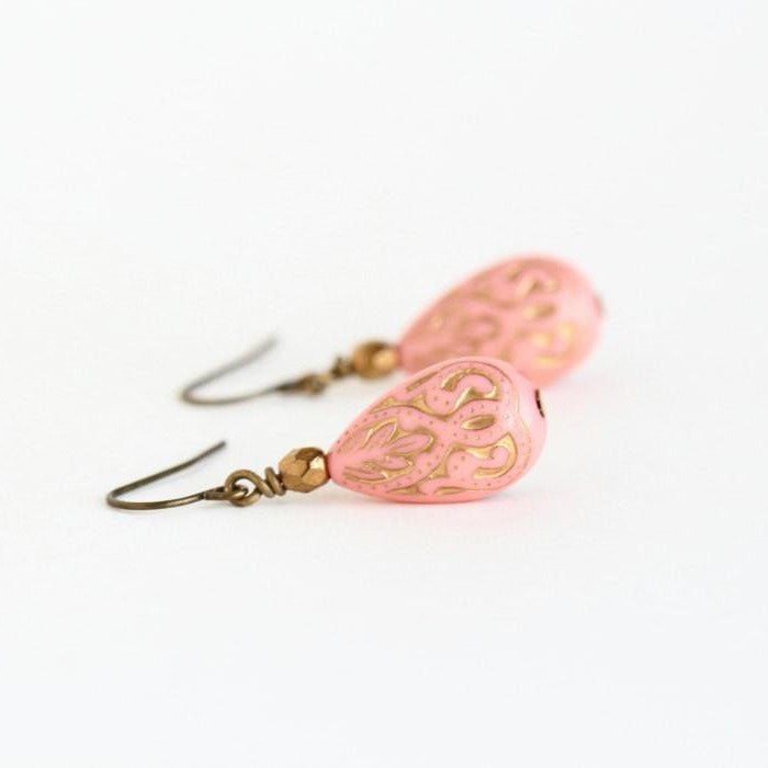 Peach and Gold Dangle Earrings