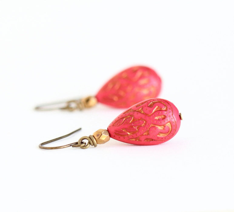 Red Earrings With Gold Inlaid Moroccan Style Vintage Lucite Beads and Bronze Beads - Dangle Earrings - Gift For Woman - Jacaranda