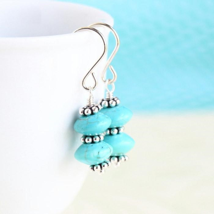 Turquoise and Sterling Silver Earrings - Jacaranda