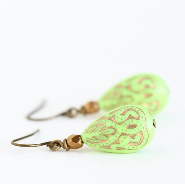 Lime Green Dangle Earrings With Gold Detail