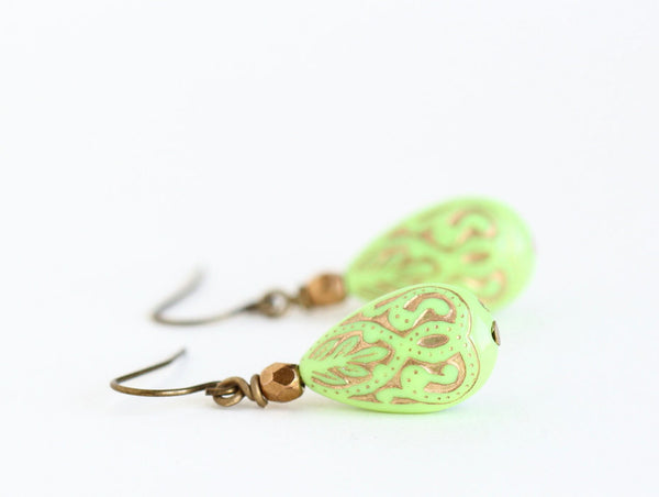 Lime Green Earrings With Gold Inlaid Moroccan Style Vintage Lucite Beads and Bronze Beads - Dangle Earrings - Jacaranda