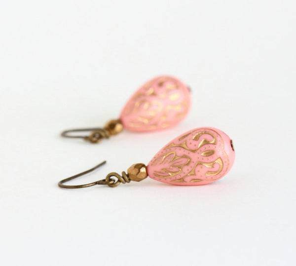 Peach Earrings With Gold Inlaid Moroccan Style Vintage Lucite Beads and Bronze Beads - Gift For Woman