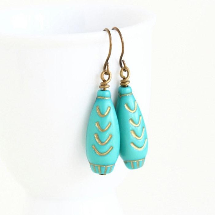 Turquoise Beaded Earrings With Gold