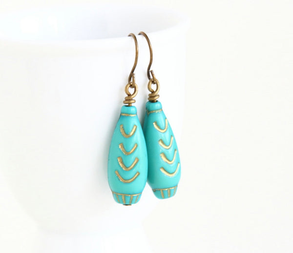 Turquoise Beaded Earrings With Gold - Jacaranda
