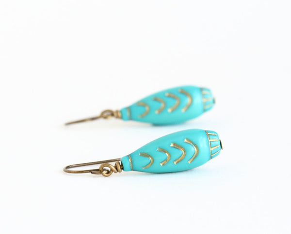 Turquoise Beaded Earrings With Gold - Moroccan Style - Vintage Beads - Lightweight Earrings - Turquoise and Gold - Jacaranda