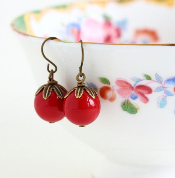Beaded Red Earrings - Dangle Earrings - Bright Red - Autumn Jewelry - Brass Earrings - Vibrant Red Earrings - Jacaranda