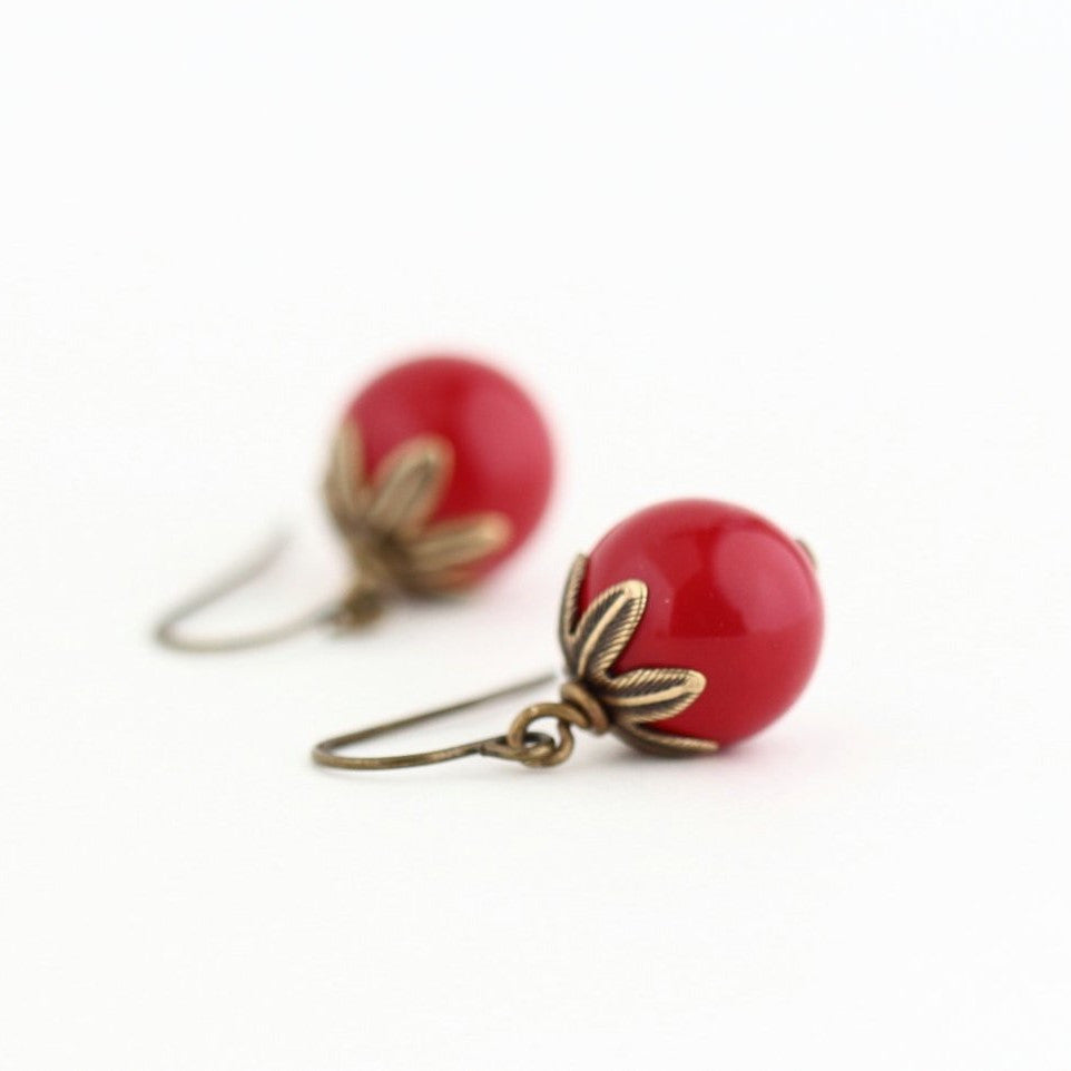 Red Beaded Earrings With Brass Detail