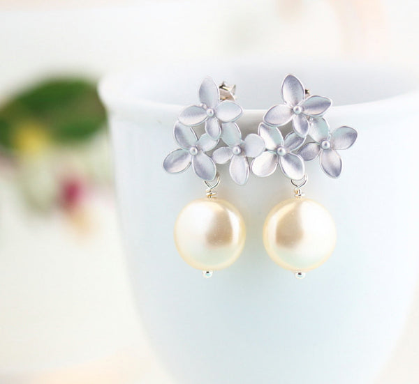 Pearl Floral Wedding Earrings - Silver - Jacaranda