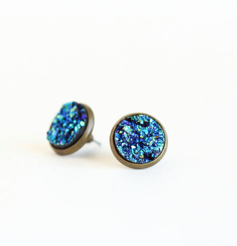 Blue Druzy Stud Earrings - Jacaranda