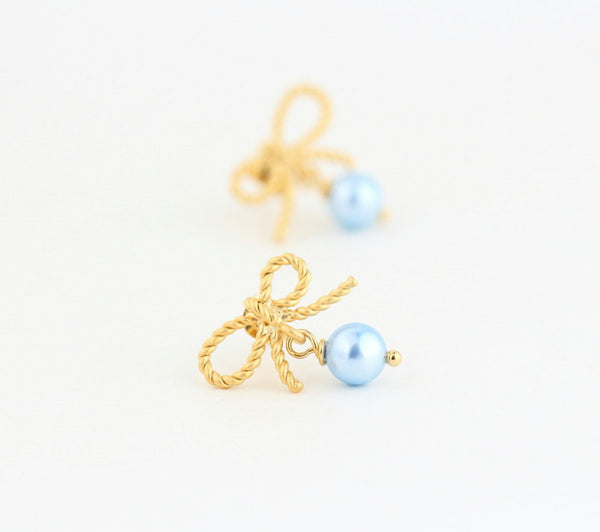 Gold Bow Earrings With Pale Blue Pearls - Jacaranda