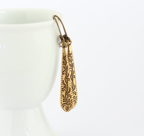 Long Dangle Etched Brass Teardrop Earrings - Jacaranda