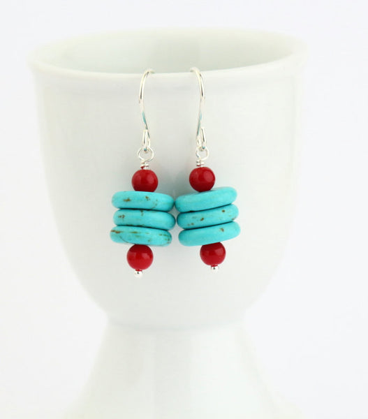 Turquoise - Red and Sterling Silver Disk Earrings - Southwestern Earrings - Sterling SIlver - Dangle Earrings - Jacaranda