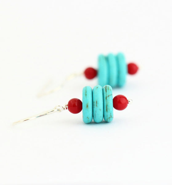 Turquoise and Red and Sterling Silver Earrings - Jacaranda