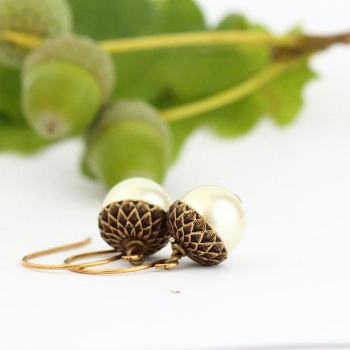 Antique Gold Brass Acorn Earrings With Ivory Pearls