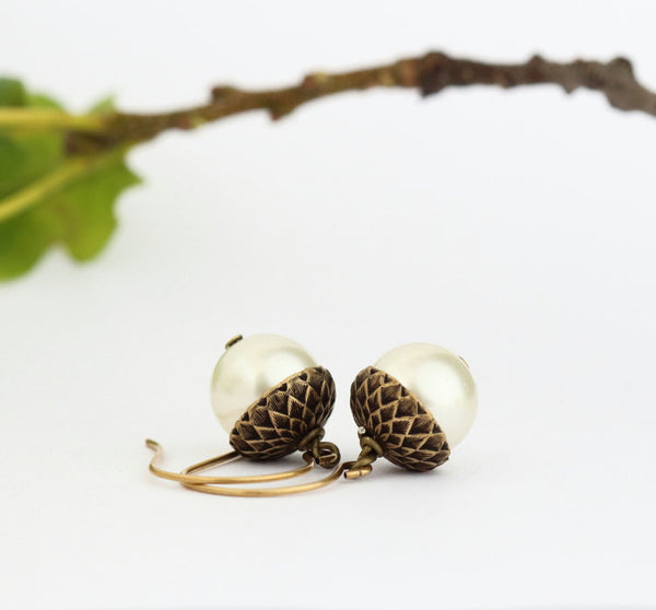 Antique Gold Brass Acorn Earrings With Ivory Pearls - Jacaranda