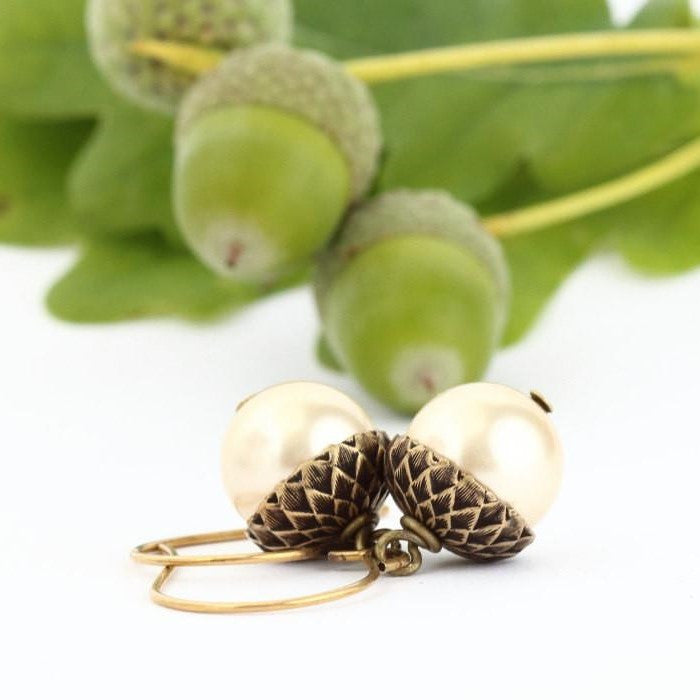 Antique Gold Brass Acorn Earrings With Pale Gold Pearls