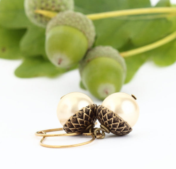 Antique Gold Brass Acorn Earrings With Pale Gold Pearls - Jacaranda