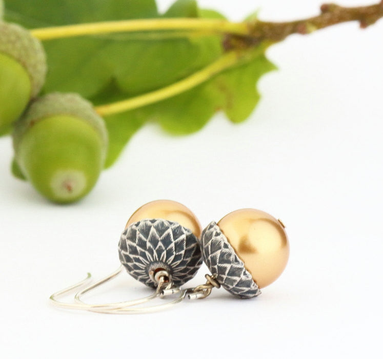 Antique Silver Brass Acorn Earrings With Gold Pearls - Jacaranda