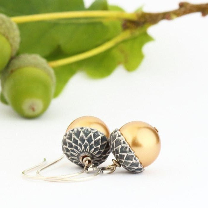 Antique Silver Brass Acorn Earrings With Gold Pearls