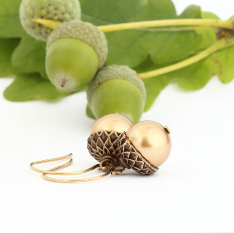 Antique Gold Brass Acorn Earrings With Gold Pearls - Jacaranda