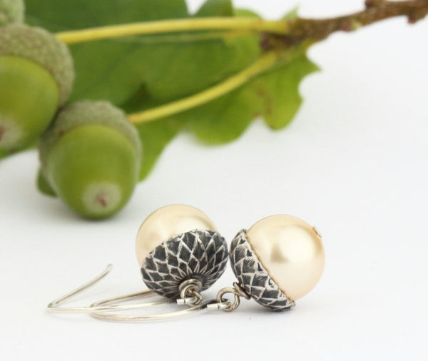 Pale Gold Pearl Acorn Earrings With Antique Silver Brass - Jacaranda