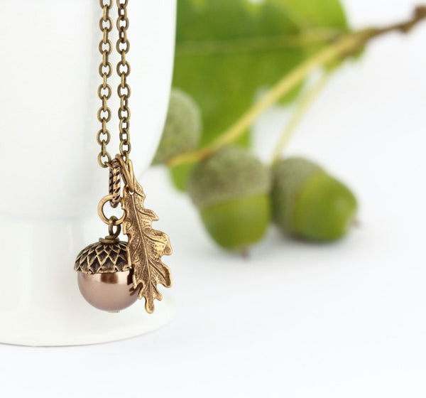Bronze Pearl and Antique Brass Pendant Necklace - Jacaranda