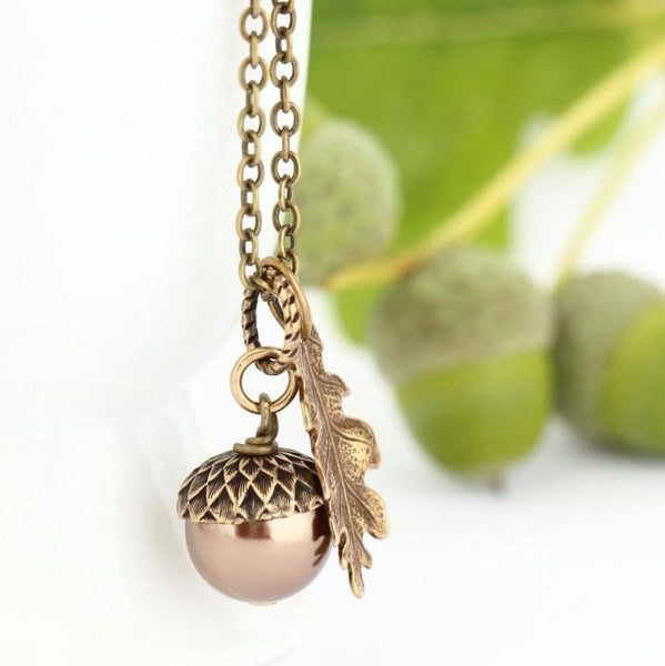 Bronze Pearl and Antique Brass Pendant Necklace
