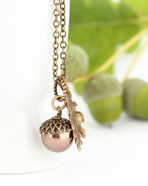 Bronze Pearl and Sterling SIlver Pendant Necklace - Jacaranda