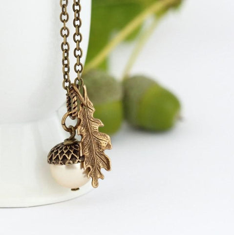Pale Gold Acorn Pendant and Antique Gold Oak Leaf Charm Pendant Necklace - Jacaranda