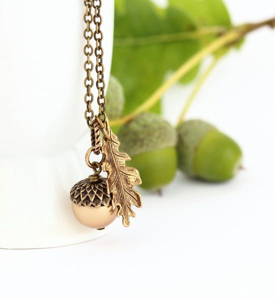 Gold Pearl and Antique Gold Pendant  Acorn Necklace - Jacaranda