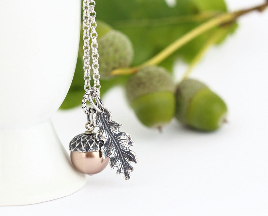 Gift For Mom - Acorn Pendant - Pale Bronze Pearl Acorn Necklace - Silver Oak Leaf Charm on Rhodium Plated Sterling Silver Chain - Jacaranda