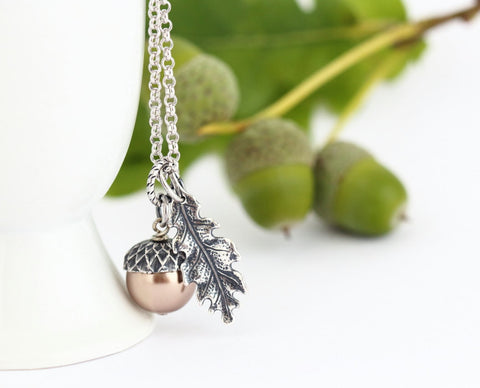 Pale Bronze Pearl and Sterling SIlver  Acorn Pendant Necklace - Jacaranda