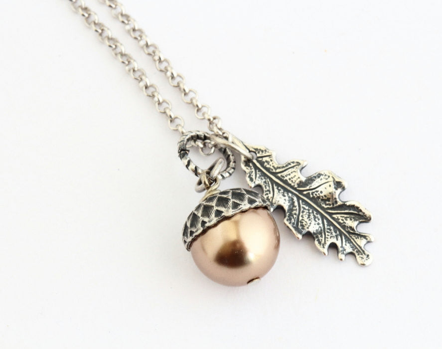 Pale bronze pearl and sterling silver acorn pendant necklace gift for mom acorn pendant pale bronze pearl acorn necklace silver oak leaf mozeypictures Image collections