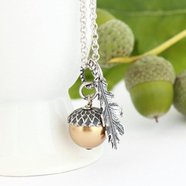 Gold Pearl and Antique Silver Pendant  Acorn Necklace