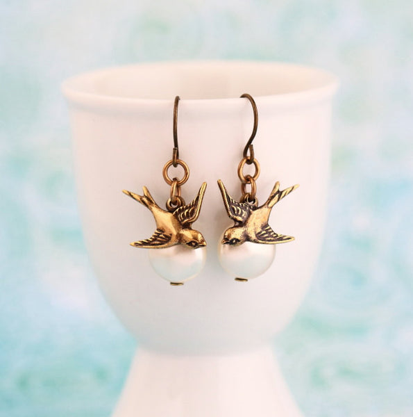 Pearl and Brass Bird Dangle Earrings - Jacaranda