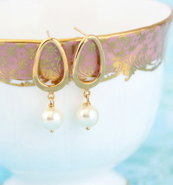 Gold Pearl Post Earrings - Ivory Pearls - Jacaranda