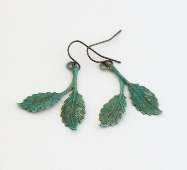 Rustic Leaf Earrings - Dangle Earrings - Sage Green Earrings - Woodland Earrings - Fall Accessories - Gift For Woman