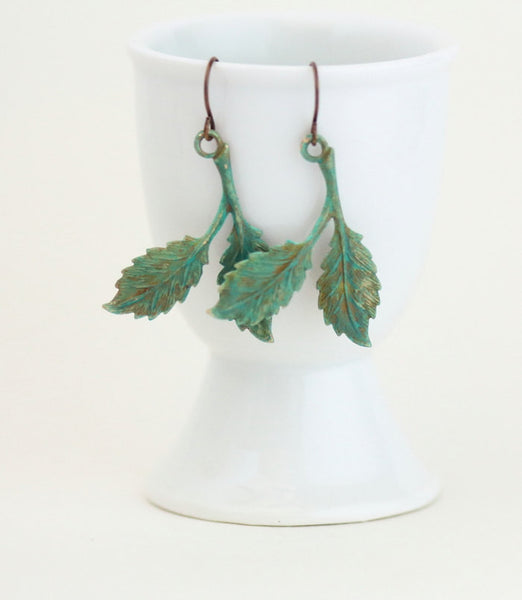 Rustic Leaf Earrings - Dangle Earrings - Sage Green Earrings - Woodland Earrings - Fall Accessories - Gift For Woman - Jacaranda