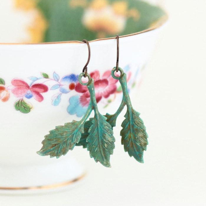 Rustic Leaf Earrings - Jacaranda