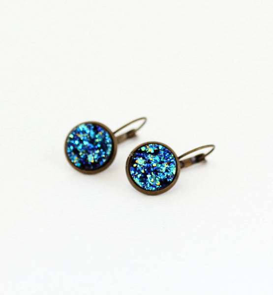 Blue Sparkle Druzy Earrings - Jacaranda